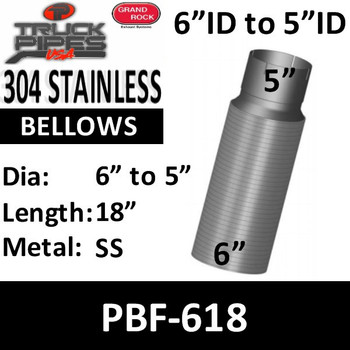 "6"" x 18"" Peterbilt Retro Stainless Steel Flex 6"" to 5"" PBF-618"