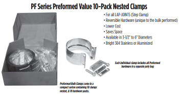 "PF-35AVP 3.5"" Preformed Aluminized Exhaust Seal Clamp 10 Pcs Bulk Pack PF-35AVP"