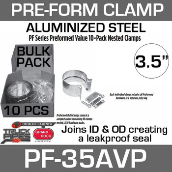 "3.5"" Preformed Aluminized Exhaust Seal Clamp 10 Pcs Bulk Pack PF-35AVP"