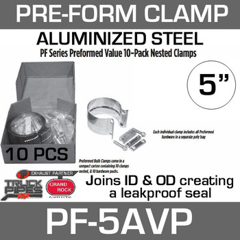 "5"" Preformed Aluminized Exhaust Seal Clamp 10 Pc Bulk Pack PF-5AVP"