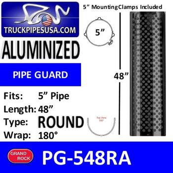 """5"""" x 48"""" Heat Shield Round Holes Aluminized with 2 brackets PG-548RA"""