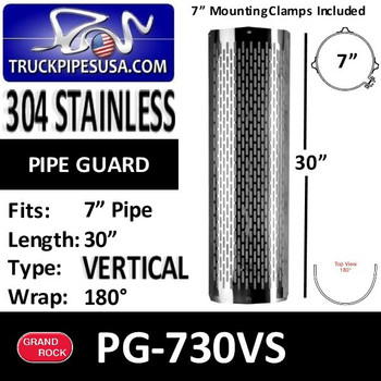 "PG-730VS 7"" x 30"" Heat Shield Vertical Slot Polished SS with 2 Brackets PG-730VS"