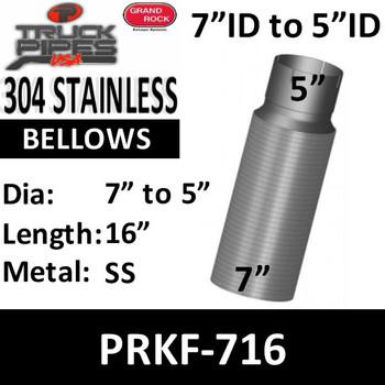 """7"""" x 16"""" Peterbilt Retro Stainless Steel Flex 7"""" to 5"""" PRKF-716"""