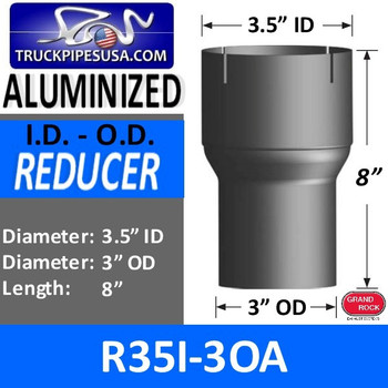 "3.5"" ID to 3"" OD Exhaust Reducer Aluminized Pipe R35I-3OA"