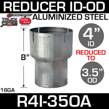 """4"""" ID to 3.5"""" OD Exhaust Reducer Aluminized Pipe R4I-35OA"""