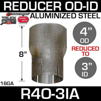 "4"" OD to 3"" ID Exhaust Reducer Aluminized Pipe R4O-3IA"