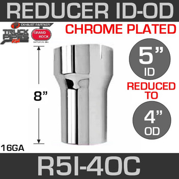 "5"" ID to 4"" OD Exhaust Reducer Chrome"