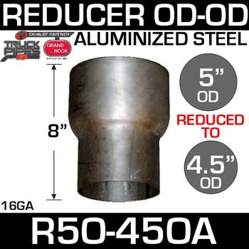 "R5O-45OA 5"" OD to 4.5"" OD Exhaust Reducer Aluminized Pipe"