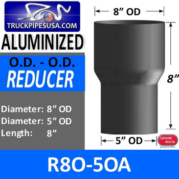 """R8O-5OA 8"""" OD to 5"""" OD Exhaust Reducer Aluminized - SPECIAL ORDER"""