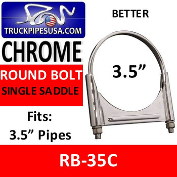 RB-35C 3.5'' Chrome Round Bolt Single Saddle Exhaust Clamp RB-35C