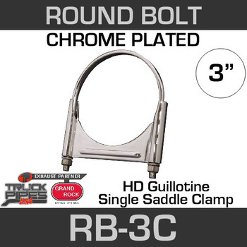 3'' Chrome Round Bolt Single Saddle Exhaust Clamp RB-3C