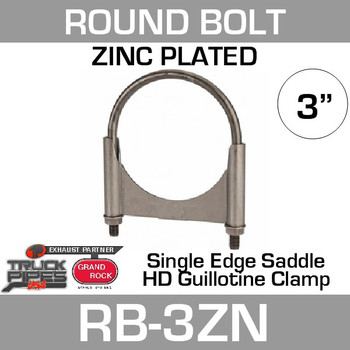 """3"""" Round Bolt Single Saddle Exhaust Clamp- Zinc Plated RB-3ZN"""