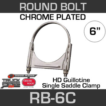"6"" Chrome Round Bolt Single Saddle Exhaust Clamp RB-6C"