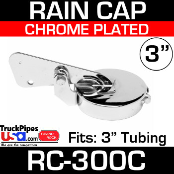 3 inch Chrome Plated Exhaust Rain Cap RC-300C