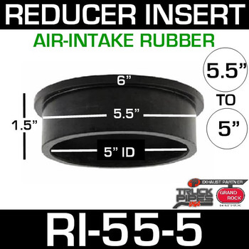 "5.5"" x 5"" Air-Intake Rubber Exhaust Reducer Insert RI-55-5"