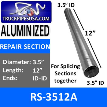 RS-3512A 3.5 inch x 12 inch Aluminized Exhaust Repair Section ID-ID RS-3512A