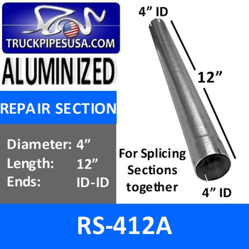 RS-412A 4 inch x 12 inch Aluminized Exhaust Repair Section ID-ID