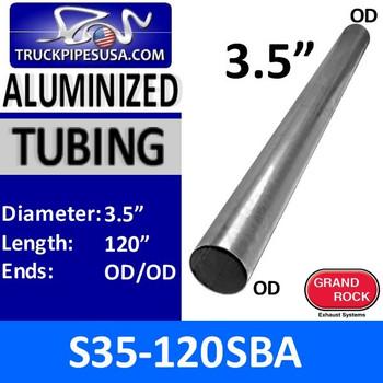 "S35-120SBA 3.5"" x 120"" Straight Cut Aluminized Exhaust Tube OD Ends S35-120SBA"