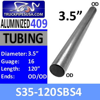 "S35-120SBS4 3.5"" x 120"" Straight Cut 409 Aluminized Stainless Steel Tube S35-120SBS4"
