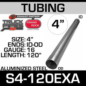 "4"" x 120"" Straight Cut Aluminized Exhaust Tubing ID End S4-120EXA"