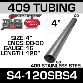 "4"" x 120"" Straight Cut 409 Stainless Steel 16 Gauge S4-120SBS4"