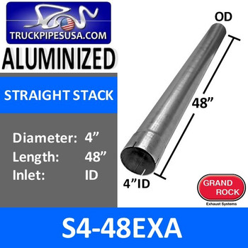 "4"" x 48"" Straight Cut Aluminized Exhaust Stack ID End S4-48EXA"