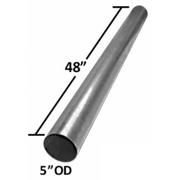 "4"" x 48"" Straight Cut Aluminized Exhaust Stack OD Ends S4-48SBA"