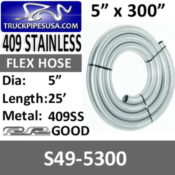 "S49-5300 5"" x 300"" 409 Stainless Steel Flex Exhaust Hose S49-5300"