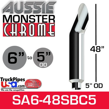 "6"" x 48"" Aussie Chrome Monster Stack Reduced to 5"" OD"