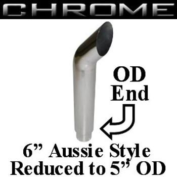 """SA6-48SBC-5 6"""" x 48"""" Aussie Chrome Exhaust Stack Reduced to 5"""" OD SA6-48SBC-5"""