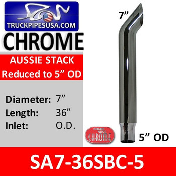 """7"""" x 36"""" Aussie Exhaust Stack Reduced to 5"""" OD Chrome SA7-36SBC-5"""