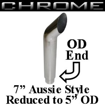 "SA7-48SBC-5 7"" x 48"" Aussie Chrome Exhaust Stack Reduced to 5"" OD"