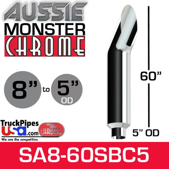 """8"""" x 60"""" Aussie Chrome Monster Stack Reduced to 5"""" OD"""