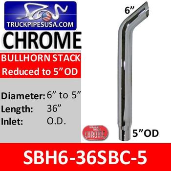 "SBH6-36SBC 6"" x 36"" Bullhorn Reduced to 5"" OD Chrome"