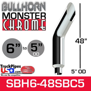"6"" x 48"" Bullhorn Chrome Monster Stack Reduced to 5"" OD"