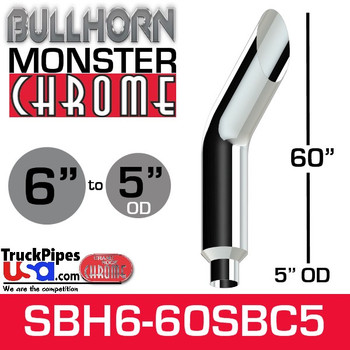 "6"" x 60"" Bullhorn Chrome Monster Stack Reduced to 5"" OD"