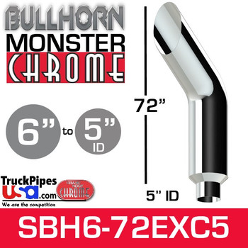 "6"" x 72"" Bullhorn Chrome Monster Stack Reduced to 5"" ID"