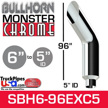 "6"" x 96"" Bullhorn Chrome Monster Stack Reduced to 5"" ID"