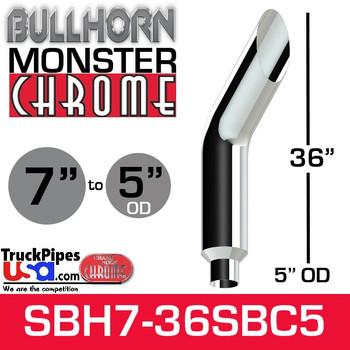 "7"" x 36"" Bullhorn Chrome Monster Stack Reduced to 5"" OD"