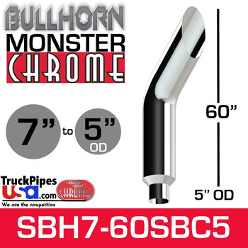 "7"" x 60"" Bullhorn Chrome Monster Stack Reduced to 5"" OD"