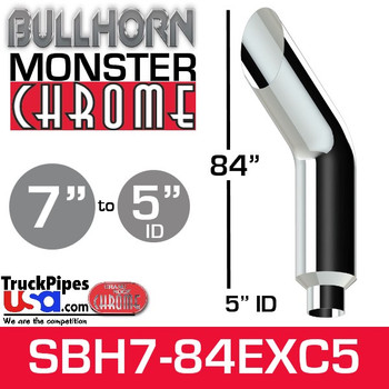"7"" x 84"" Bullhorn Chrome Monster Stack Reduced to 5"" ID"