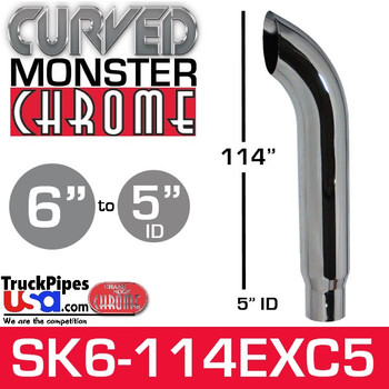 """6"""" x 114"""" Curved Top Monster Chrome Stack Reduced to 5"""" ID"""