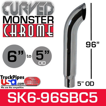 """6"""" x 96"""" Curved Top Monster Chrome Stack Reduced to 5"""" OD"""