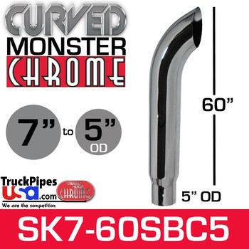 "7"" x 60"" Curved Top Monster Chrome Stack Reduced to 5"" OD"