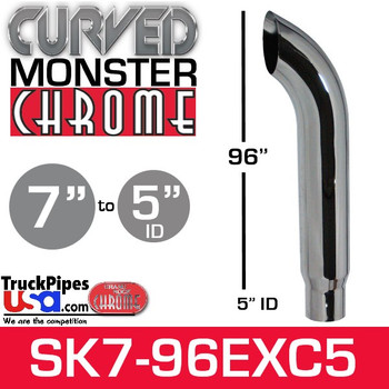 """7"""" x 96"""" Curved Top Monster Chrome Stack Reduced to 5"""" ID"""