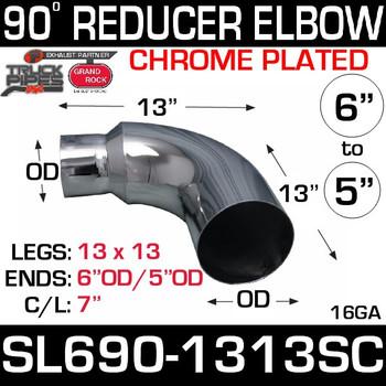 """6"""" OD 90 Degree 13"""" x 13"""" Reduced to 5"""" OD Chrome SL690-1313SC"""