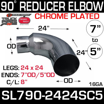 "Chrome Reducer Elbow 7"" x  24"" Legs"" 5"" OD SL790-2424SC5"