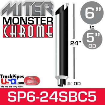 "6"" x 24"" Miter Cut Chrome Monster Stack Reduced to 5"" OD"