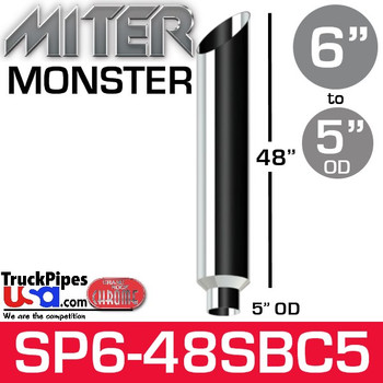 "6"" x 48"" Miter Cut Chrome Monster Stack Reduced to 5"" OD SP6-48SBC"