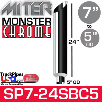 "7"" x 24"" Miter Cut Chrome Monster Stack Reduced to 5"" OD"